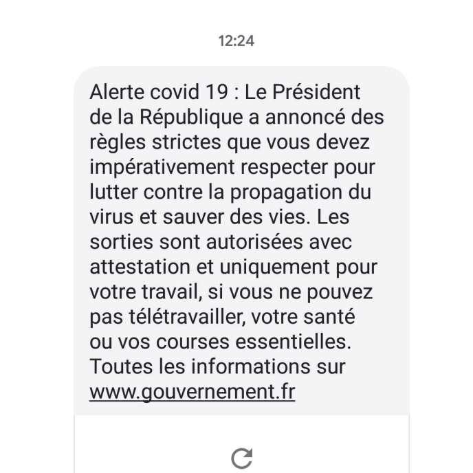 Voici le message reçu par de nombreux Français depuis lundi 16 mars.