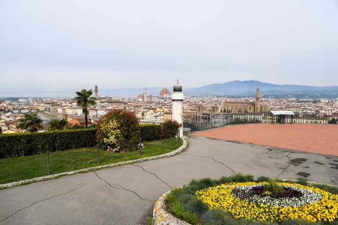Vue sur Florence, depuis la piazzale Michelangelo, le 10 mars 2020.