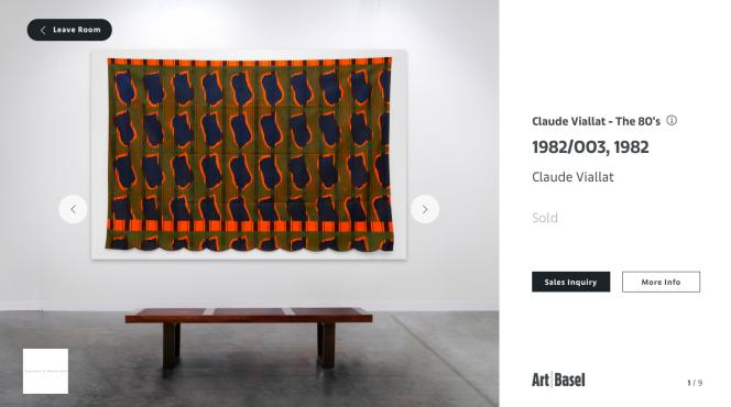 Capture d'écran d'une des salles virtuelles de la galerie Ceysson & Bénétière à la foire Art Basel Hongkong, entièrement en ligne. Une œuvre du peintre Claude Viallat.