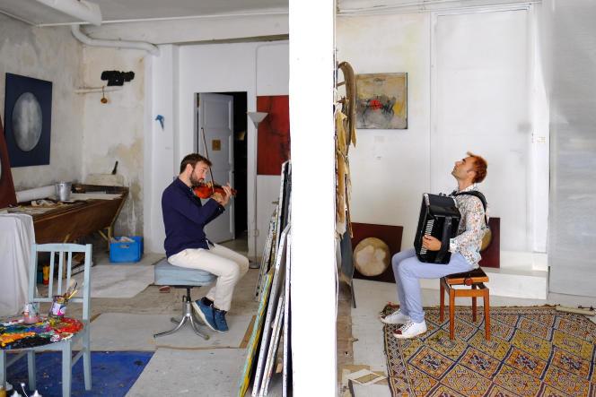 Pierre-Marie Braye-Weppe au violon et Arnaud Méthivier à l'accordéon lors de leur concert en duo, de chaque côté d'un mur.