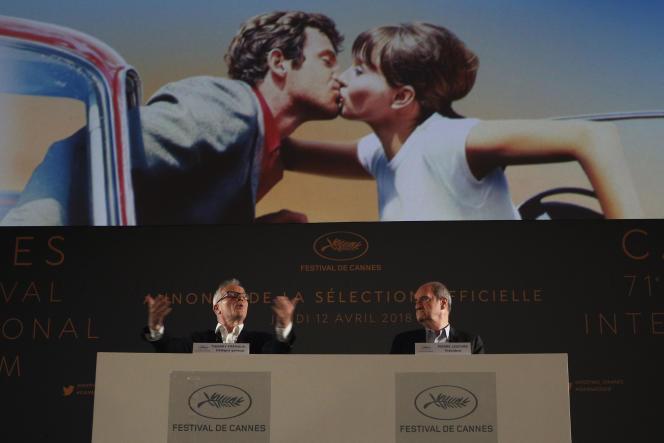 Thierry Frémaux, déléguégénéral du Festival de Cannes, et Pierre Lescure, son président, le 12 avril 2018, à Paris.