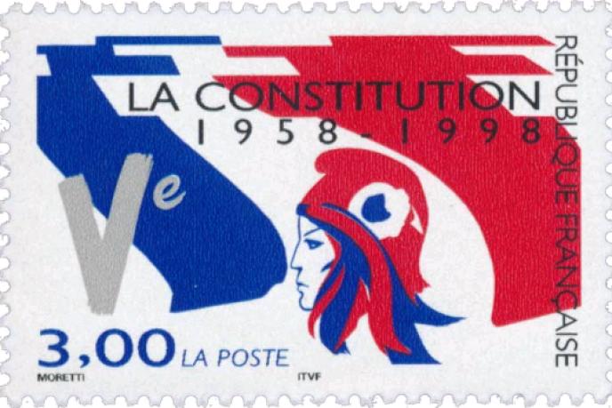 « Dans un Etat de droit, comme l'est la République française, la Constitution doit demeurer la boussole guidant invariablement l'action des pouvoirs publics» (Illustration: timbre-poste dessiné par Raymond Moretti paru en 1998).
