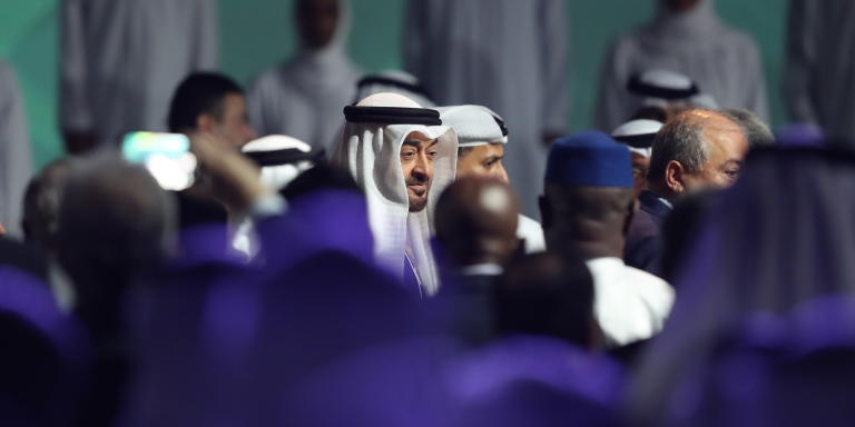 epa08124152 His Highness Sheikh Mohammed bin Zayed bin Sultan Al Nahyan (C), the Crown Prince of Abu Dhabi and Deputy Supreme Commander of the UAE's Armed Forces arrives to attend the opening ceremony of the World Future Energy Summit 2020 (WFES) in Abu Dhabi, United Arab Emirates, 13 January 2020.  EPA/ALI HAIDER (MaxPPP TagID: epalivefour534275.jpg) [Photo via MaxPPP]