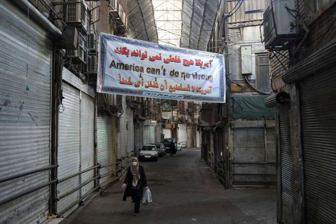 A Téhéran, le 20 mars. Sur la banderole :« L'Amérique ne fera rien».