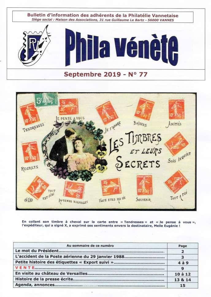 « Phila Vénète », 16 pages, édité par La Philatélie vannetaise.