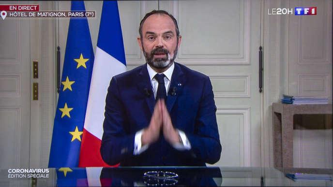 Edouard Philippe, premier ministre, est l'invité du« 20 heures»de TF1, lundi 23 mars 2020.