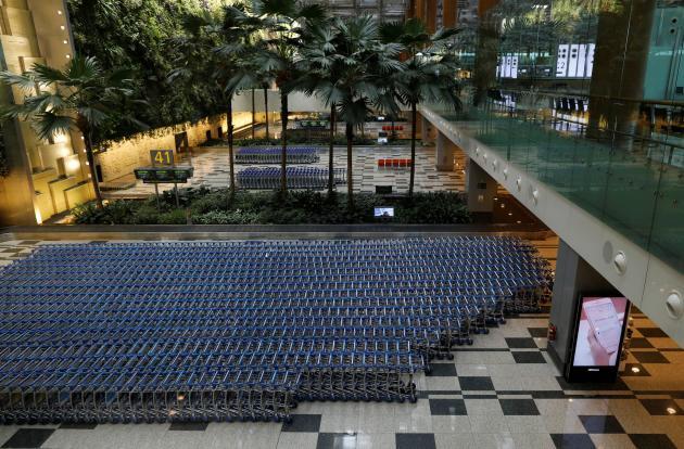 L'aéroport désert de Changi, à Singapour, le 23 mars.