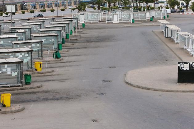 Une gare routière déserte à Alger, en Algérie, le 22 mars.