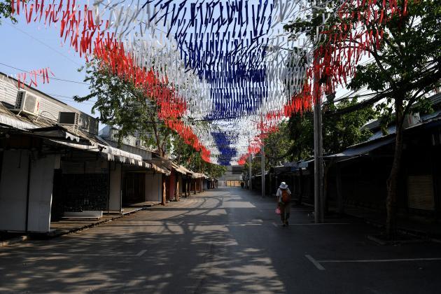 Le marché de Chatuchak à Bangkok, en Thaïlande, fermé dans le cadre de mesures de confinement, le 22 mars.