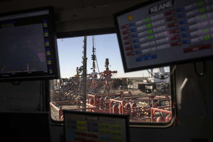 Site de forage de pétrole de la compagnie Shell, situé dans le bassin du Delaware, l'un des plus productifs au monde, près de Wink, au Texas, le 25 janvier 2019.