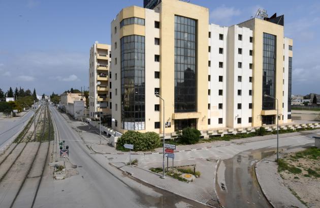 A Tunis, en Tunisie, le 22 mars. Le pays est confiné et sous couvre-feu.