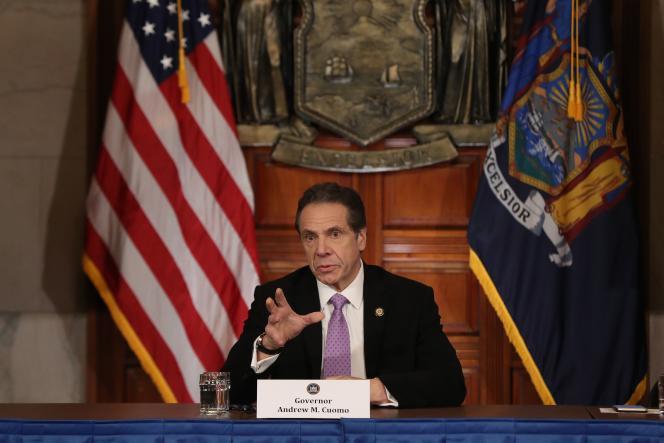 Le gouverneur de l'Etat de New York Andrew Cuomo, lors d'uneconférence de presse sur l'épidémie de Covid-19, le 20 mars.