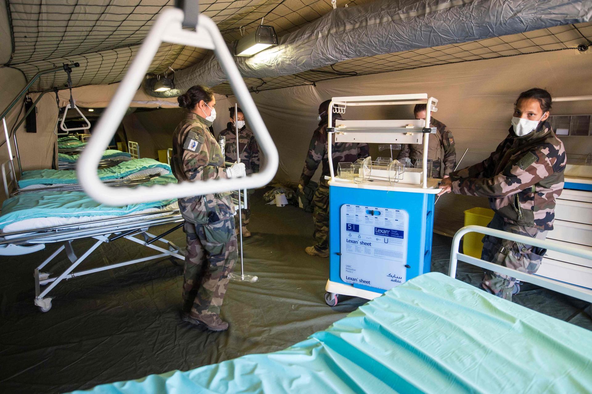 L'appui de l'élément militaire de réanimation, d'une capacité de 30 lits.