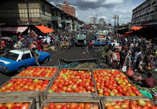 Un marché aux légumes bien approvisionné à Addis-Abeba, le 17 mars 2020.