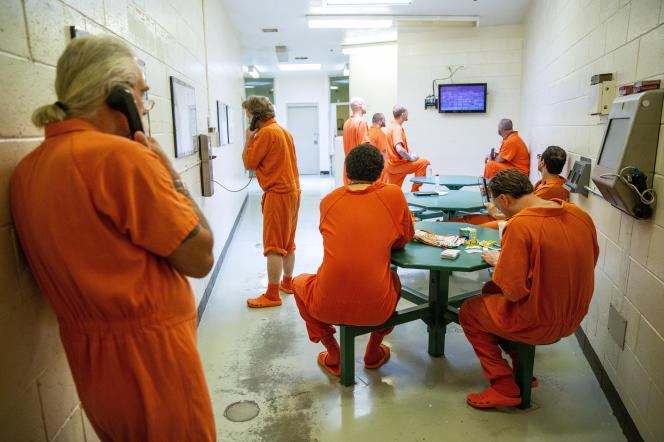 Des détenus de la prison du comté de Twin Falls, en Idaho, en juillet 2018.