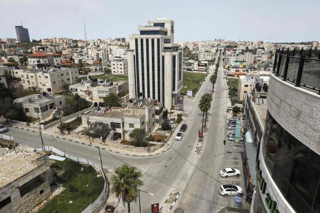 Les rues vides de Ramallah en Cisjordanie, le 23 mars.