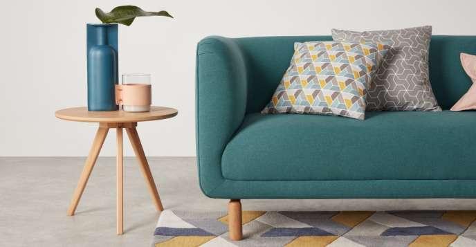 Toki, coussin à motif géométrique 45 x 45 cm, jaune moutarde, de chez Made.com.