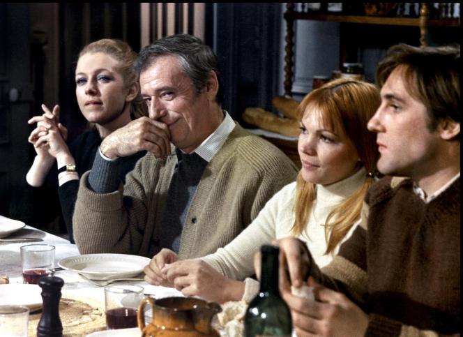 «Vincent, François, Paul... et les autres» (1974),de Claude Sautet. De gauche à droite, Marie Dubois, Yves Montand, Myriam Boyer et Gérard Depardieu.
