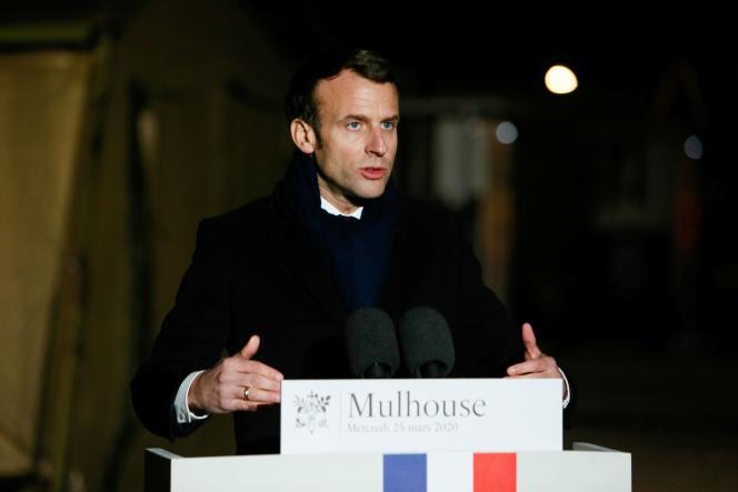 Emmanuel Macron, mercredi 25 mars àMulhouse.