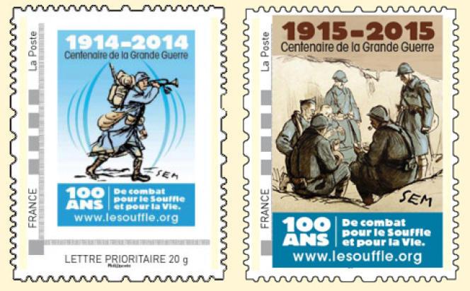 Timbres-poste parus en 2014 et en 2015 d'après des oeuvres de l'illustrateur Sem (1863-1934) pour le centenaire de la Grande guerre.