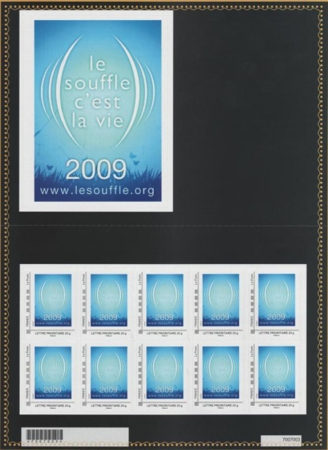 « Le souffle c'est la vie»: premier timbre-poste paru en 2009 sous la forme d'un collector tiré à 600 exemplaires.
