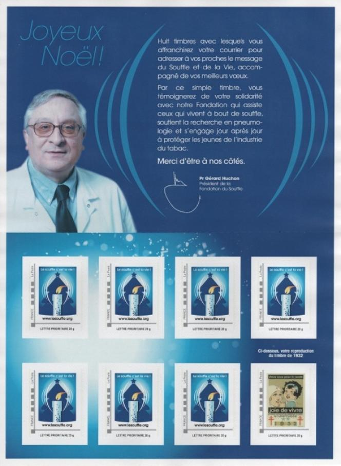 « Le Noël du souffle»: timbre personnalisé paru en 2012. Tirage : 500 collectors, ce qui revient à 3500 timbres« bougie» et 500 timbres« Joie de vivre», un tout petit tirage.