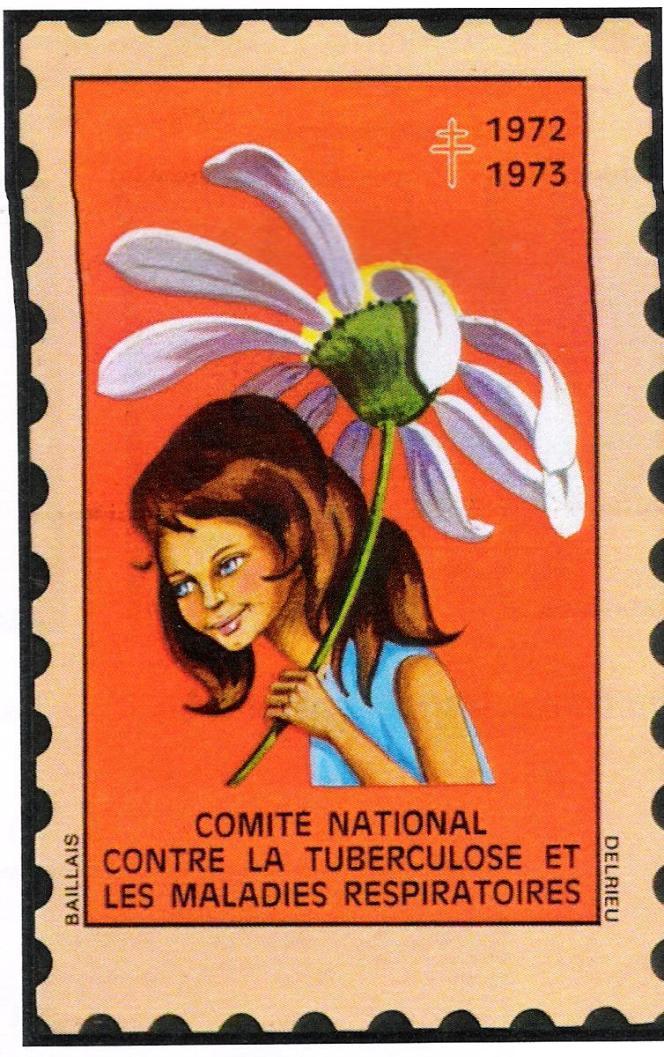 «L'ombrelle marguerite« , vignette du Comité national contre la tuberculose et les maladies respiratoires dessinée par OIdette Baillais (1972).