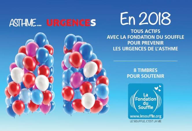 « Asthme... Urgences»: couverture du collector de huit timbres paru en 2018 (1000 exemplaires).