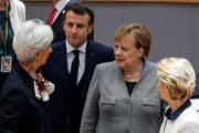 Christine Lagarde, Emmanuel Macron, Angela Merkel et Ursula Von der Leyen, à Bruxelles, le 13 décembre 2019.