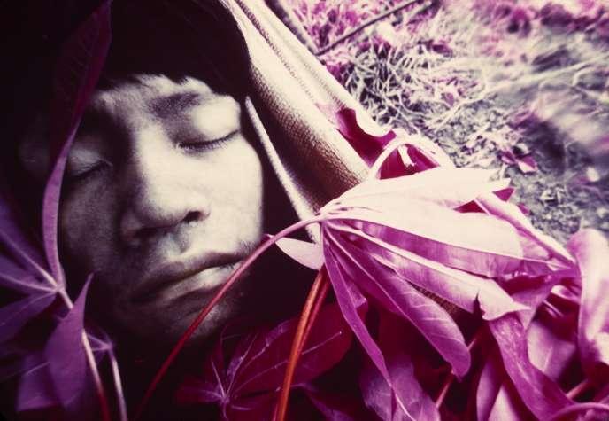 Jeune Wakatha u thëri, victime de la rougeole, soigné par des chamans et des aides-soignants de la mission catholique Catrimani, Roraima, 1976.