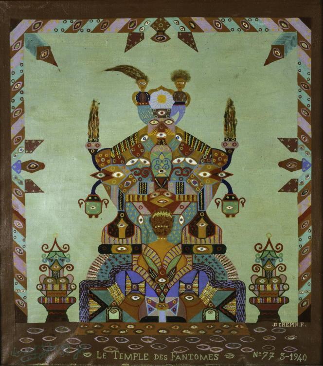Fleury Joseph Crépin, Tableau n° 77, «Le Temple des fantômes», mars 1940. Huile sur toile, 54,5 × 49 cm. Ancienne collection Nicolas Schöffer, Don d'Eléonore Lavandeyra-Schöffer, LaM