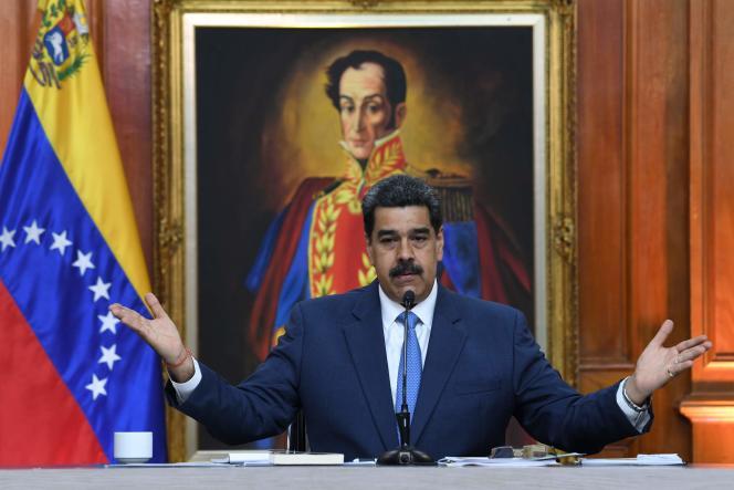 Le président vénézuélien, Nicolas Maduro, lors d'une conférence de presse, à Caracas, le 14 février.