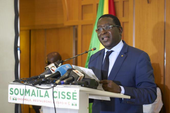 Le chef de l'opposition malienne Soumaïla Cissé lors d'une conférence de presse, à Bamako, à la veille des résultats officiels de l'élection présidentielle, le 17 août 2018.