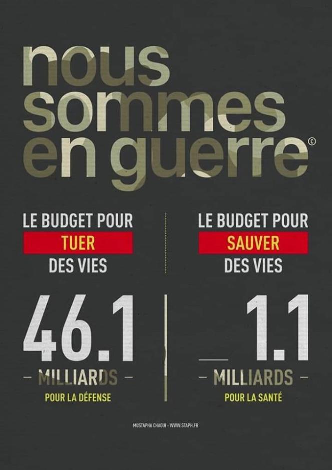 Cette image prétend comparer le budget consacré à la défense à celui consacré à la santé. Mais la situation est en réalité bien différente.