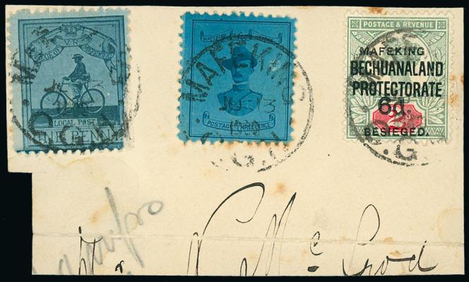 350 à 400 livres, estimation pour ce devant de lettre oblitérée en juillet 1900, avec les deux timbres (dont l'un à l'effigie de Baden-Powell) du siège de Mafeking, vente Grosvenor (2019), à Londres.