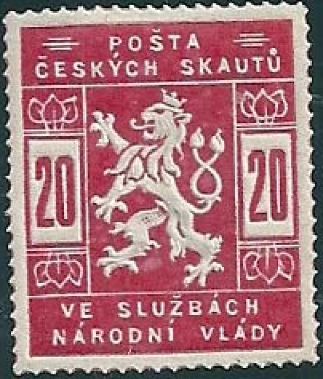 Timbre de la poste semi-officielle scoute de Prague, en 1918.