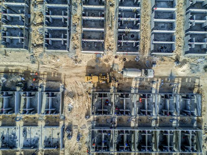 Hôpital en construction à Rafah, au sud de la bande de Gaza, le 23 mars