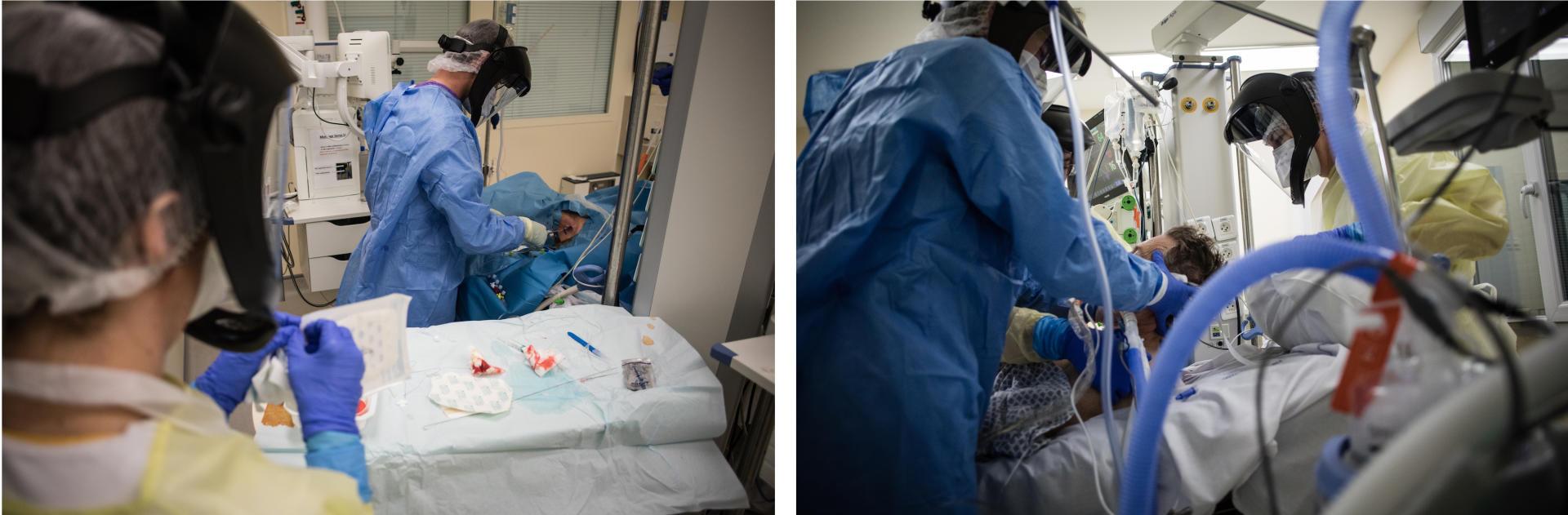 22 h 26. Le réanimateur de garde met en place un cathéter veineux jugulaire interne pour administrer les médicaments nécessaires au patient 42. Il est assisté par une aide-soignante.