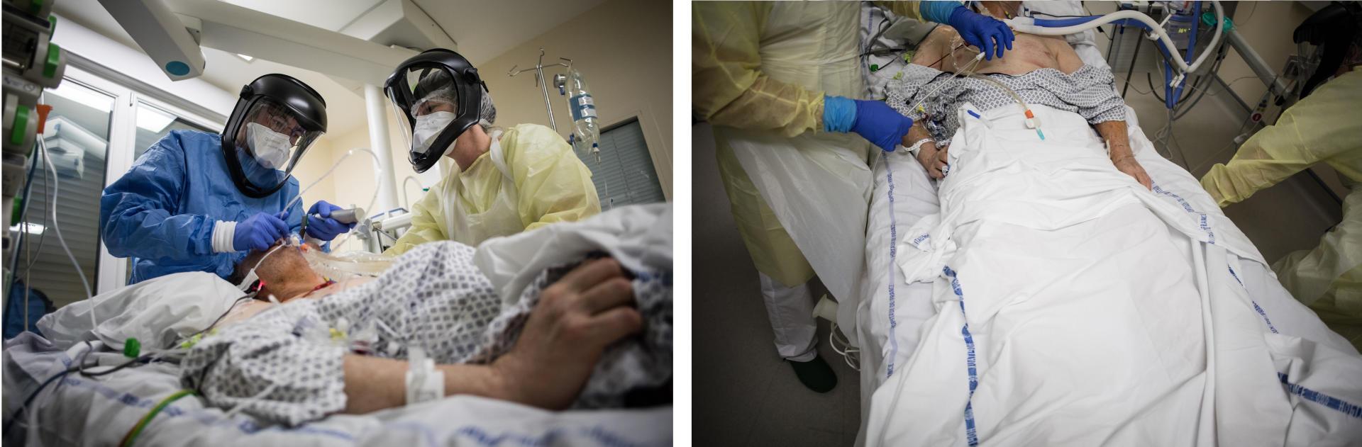 22 h 42. Un infirmier de réanimation et une aide-soignante mettent en place la sonde gastrique qui permettra d'alimenter le patient 42.