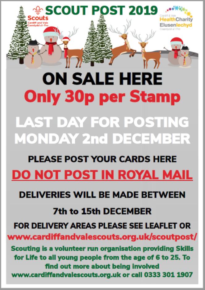 Affiche de la poste scoute de Cardiff and Vale pour 2019, avec indication de la date limite d'envoi, le 2 décembre. Mention« Do not post in Royal Mail» (ne pas utiliser les boîtes aux lettres de la poste britannique).