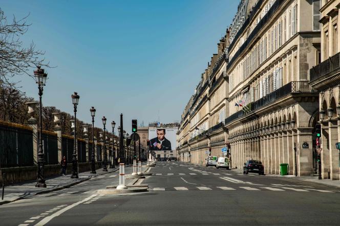 La rue de Rivoli, à Paris, le 27 mars.