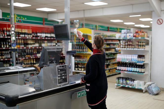 Dans un supermarché, à-Jacut-de-la-Mer (Côtes-d'Armor), le 19 mars.