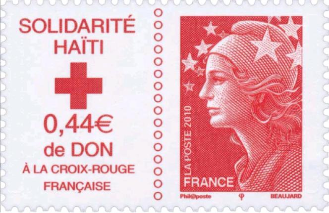 « Marianne» dessinée et gravée par Yves Beaujard,Ce timbre émis le 19 janvier 2010 intége t un don de 0,44 euro au profit de la Croix-Rouge française pour Haïti.