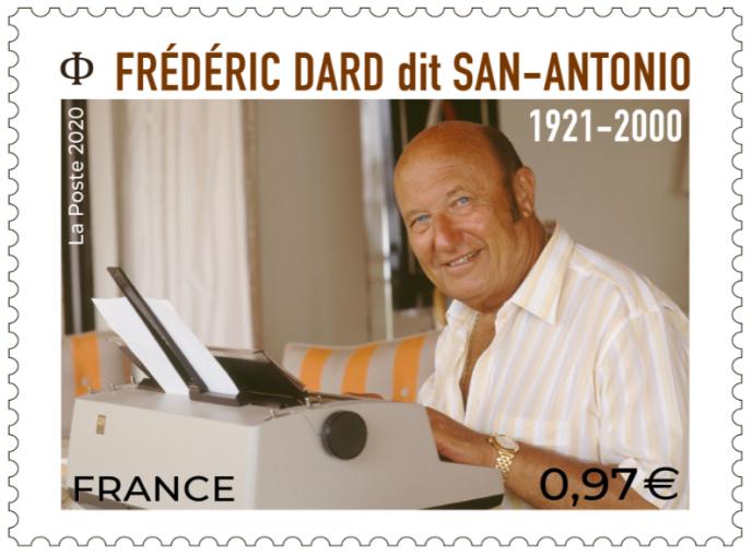 Timbre sur Frédéric Dard, reporté.