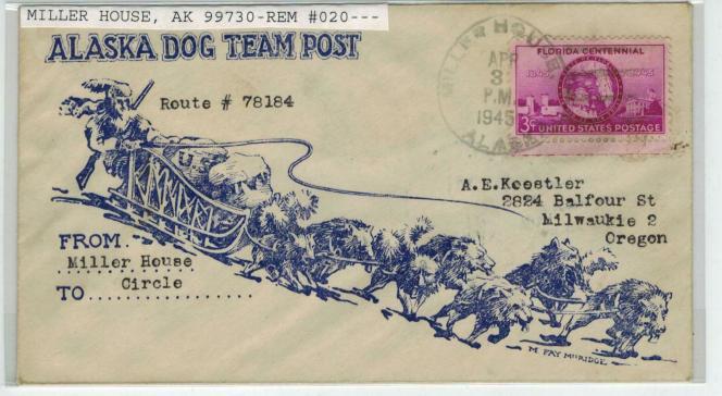 Poste par traîneau à chiens, lettre transportée en 1945.