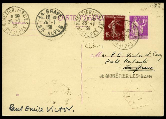 Carte postale transportée en 1938 par traîneau tiré par des chiens entre Le Monétier-les-Bains et la Grave, avec cachet de passage et retour(ci-dessous) pour justifier l'utilisation de chiens pour le transport du courrier. Signature de Paul-Emile Victor (440 euros chez Feldman, en Suisse, en 2019)