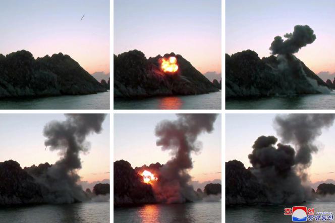 Des images de l'essai présumé de roquettes de gros calibre, diffusées par l'agence nord-coréenne officielle KCNA le 28 mars.