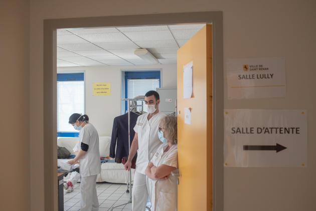 Les soignants dans la salle de pause, le 27 mars.