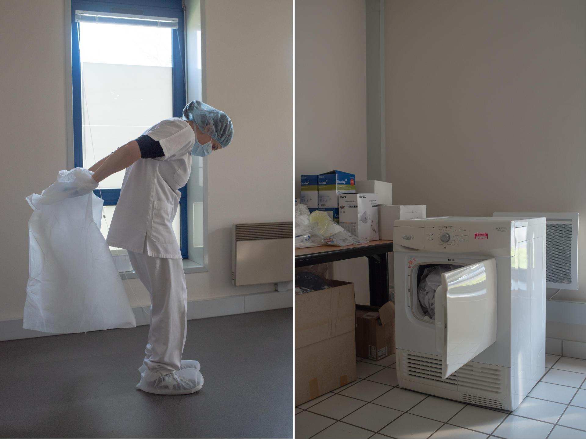 Anne-Cécile Bernicot retire sa tenue de consultation en faisant attention à ne pas faire d'erreur de contamination. Après lavage, les vêtements seront mis dans un sèche-linge donné par le magasin d'électroménager de Saint-Renan– Saint-Renan, le 27 mars.