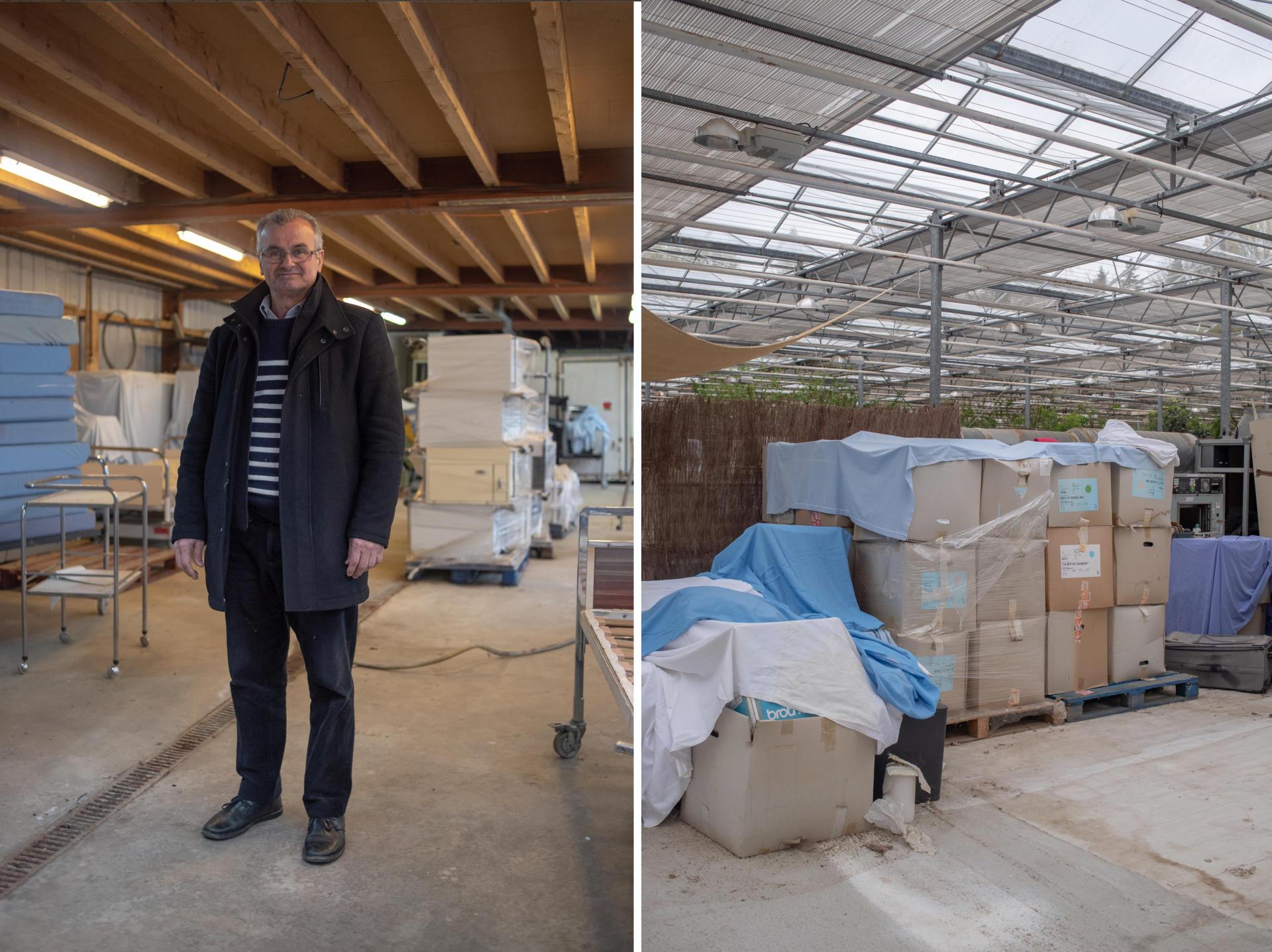 Samy Zbib travaille dans l'import-export. Il a récupéré du matériel médical après la fermeture d'une clinique à Landerneau. Il en a fait don au centre de Saint-Renan – Guilers, le 28 mars.